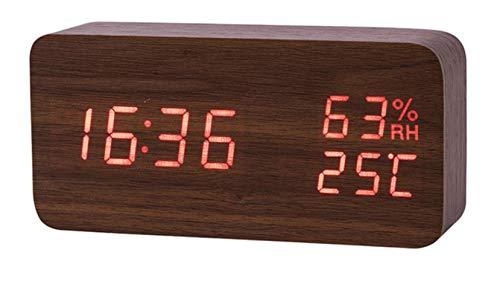 MoMo Horloges de Table numériques de Bureau électroniques d'humidité de la température de réveil de LED, lumière Rouge de Coquille Brune