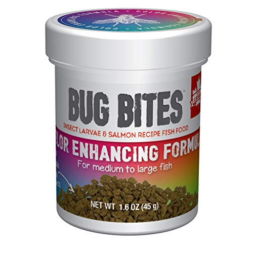 Fluval Bug Bites Color Enhancing Fish Food for Tropical Fish, Granules for Medium to Large Sized...