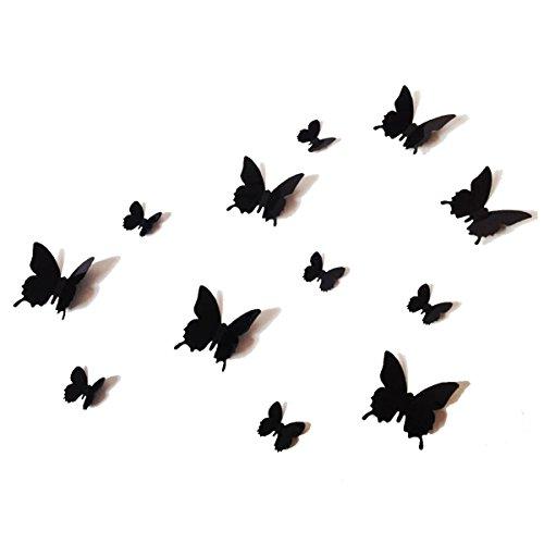 12PCS 3D Black Butterfly Wall Stickers Art Decal PVC Butterflies Home DIY Decor by UK DEALS