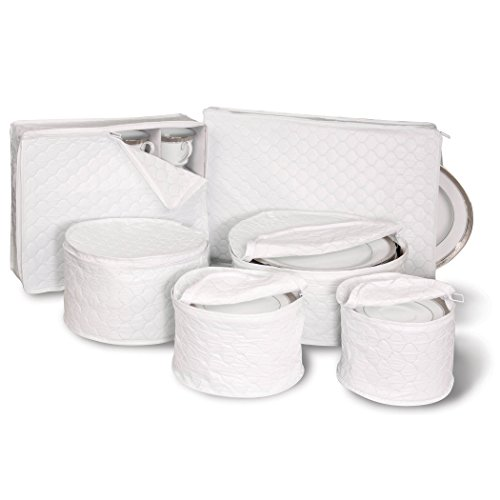 Our #4 Pick is the Richards Homewares 6 Piece Tabletop Quilted Vinyl Dinnerware Storage Set