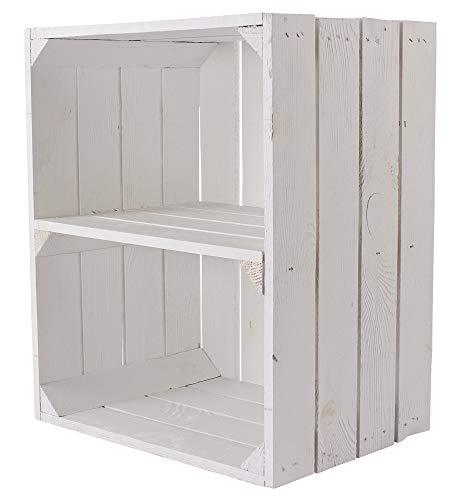 Kontorei® - Caja para fruta (también ideal para zapatos y CD, apilable, madera natural, color blanco