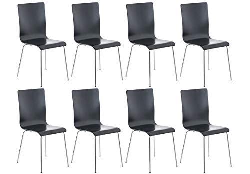 CLP 8er-Set Wartezimmerstuhl Pepe mit ergonomisch geformten Holzsitz und Metallgestell I 8X Konferenzstuhl erhältlich, Farbe:schwarz