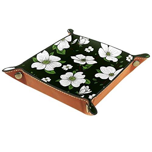 Yitian Bandeja de cuero PU joyería de cuero Catchall Tropical verde floral flor para cambio joyería clave teléfono relojes dados elegancia suave cuero reciclable
