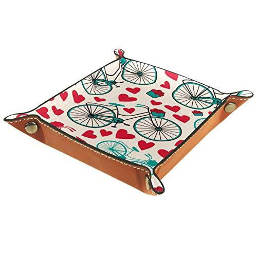 XiangHeFu Bandeja de Cuero Vintage Bicicleta corazón Flor Romance Almacenamiento Bandeja Organizador Bandeja de Almacenamiento Multifunción de Piel para Relojes,Llaves,Teléfono,Monedas