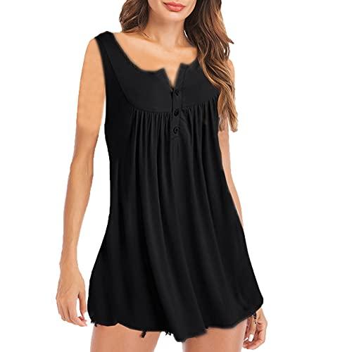 Nuevo Chaleco Informal De Moda para Mujer, Chaleco Plisado con Botones Y Cuello En V De Verano, Camiseta Informal De Color SóLido
