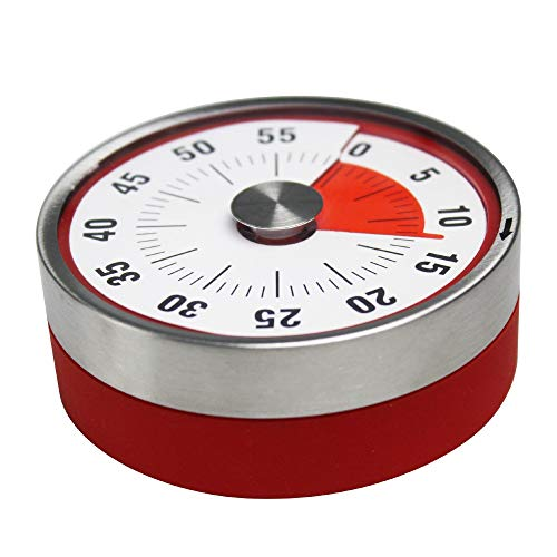 YMYGCC Temporizador De Cocina Temporizador de Cocina de Acero Inoxidable Alarma de cocción Temporizador mecánico Redondo Redondo Temporizador de Reloj magnético (Color : Natural)