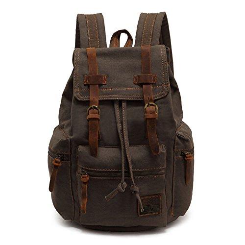 Yimidear® Canvas Rucksack Vintage Rucksack Schulrucksack Retro Rucksack Daypack Backpack Lederrucksack Wanderrucksack Reisetasche Laptoprucksack für Herren Damen Jungen Mädchen