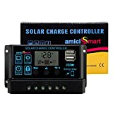 amiciSmart Solar Charge Controller 10A, Intelligent Battery Regulator for Solar Panel LCD Display with USB Port 12 Volts/24 Volts (10A)