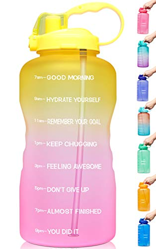 Venture Pal Large 1 Gallon/128 OZ (When Full) Motivational BPA Free Leakproof Water Bottle with Straw & Time Marker Perfect for Fitness Gym Camping Outdoor Sports-Pink/Yellow Gradient