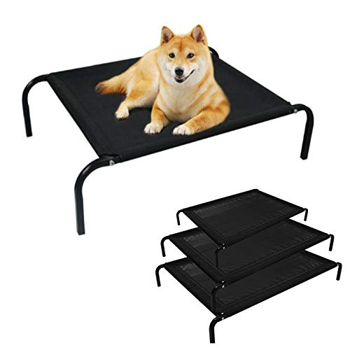 Cooling Elevated Pet Bed with Curved Poles, Raised Pet Bed with Washable & Breathable Mesh, No-Slip Rubber Feet, Dog Cat Sleep Bed, Small