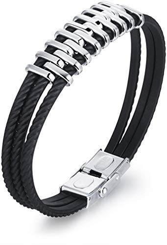 LAMUCH Herren Vintage Dreifach-Silikonseil Armband Edelstahl Kordel Tribal-Surfer-Manschette Armreif 21,6 cm
