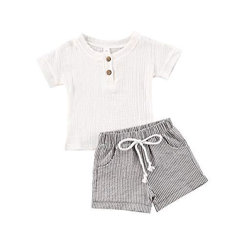 Allegorly Kleinkind Kinder Baby Mädchen Jungen Leinen Solid Tops T-Shirt Gestreifte Shorts Set Outfits Jungen und Mädchen kurzärmeligen einfarbigen Anzug aus Baumwolle und Leinen