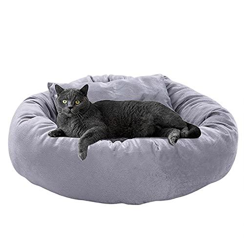 WQA Cama para Gatos para Mascotas Medianas Caseta para Perros Pequeños Cojín Suave Lavable Nido Sofá Redondo para Cachorros de Gatitos Grandes de Interior S