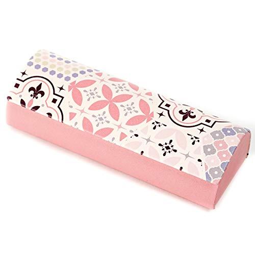 パール メガネケース ピンク ハード マグネット式 クロス 付き ピンクタイル