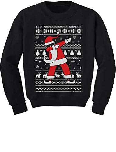 Tstars Dabbing Santa Funny Ugly Christmas Party Youth Kids Sweatshirt Medium Black