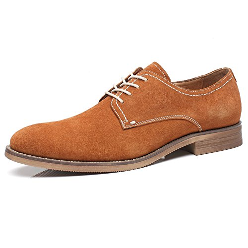 La Milano Suede Lace Up Leather Oxfords Classic Comfortable Modern Plain Toe Dress Shoes for Men