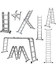 Multifunctionele aluminium ladder 4,7 m / 15,5 FT multifunctionele vouwladder uitschuifbare traplader, zware laadcapaciteit 150 kg 4,7 m ladder met werkplatform}