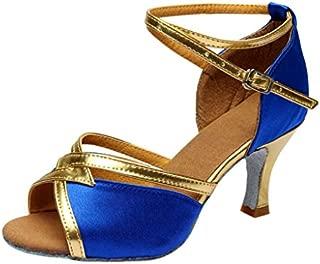 YOcheerful Latin Sandals, Women's Solid Rumba Sandals Waltz Sandals Prom Ballroom Sandals Latin Salsa Dance Shoes