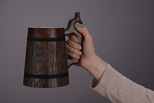 Handmade wooden brown beer mug with carved handle great gift ideas   Octoberfest Tankard For Men & Women By MadeHeart