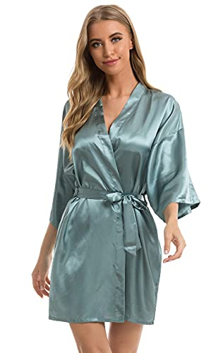 Vlazom Women's Kimono Robes Short Satin Bathrobe Solid Bridal Party Robe with Oblique V-Neck Dark Green