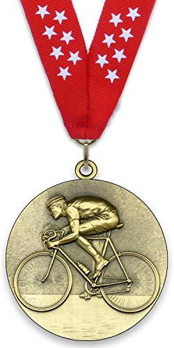 Medaglia in metallo personalizzabile - Ciclismo - Colore oro - 6,4 cm - Nastro incluso - Colori del nastro - Rosso - stelle bianche