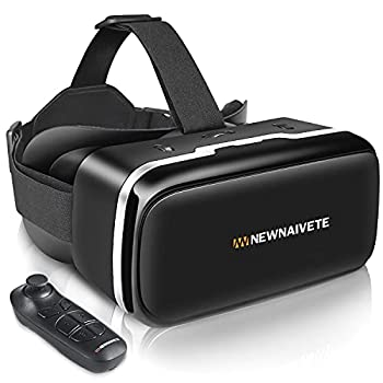 VR Headset with Remote Controller 3D Glasses Goggles Virtual Reality Headset Compatible with iPhone & Android Phone Eye Protected Soft & Comfortable VR Headsets for Phones 4.7-6.53
