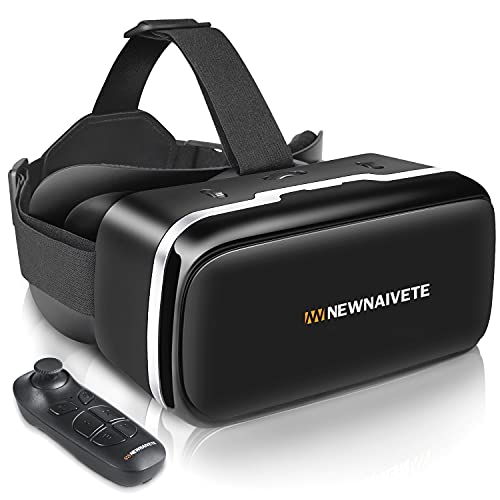 VR Headset with Remote Controller, 3D Glasses Goggles Virtual Reality Headset Compatible with iPhone & Android Phone Eye Protected Soft & Comfortable Adjustable Distance for Phones 4.7-6.53