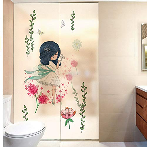 Djkaa Meisje kamer decoratie elektrostatische film glas folie bloem woonkamer slaapkamer balkon raam stickers verwijderbare stickers