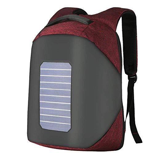 WENTAO Solar Betriebene Ladegerät Rucksack/USB-Ladehafen Wasserdicht Outdoor-Reise Camping Rucksack Anti-Diebstahl 16Zoll Business Laptop Rucksack Für Büro Oder Schule, Jujube