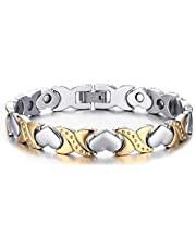 Two-tone Heart Shape Magnet Energy Healthy Bracelet in Titanium for Women,SBRM-058