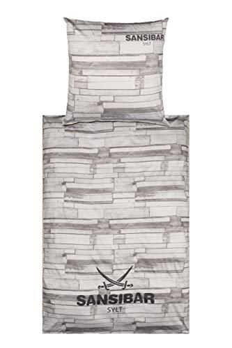 Sansibar Satin Wendebettwäsche Bettwäsche Set 2 teilig Bettbezug 135x200 cm Kissenbezug 80x80 cm Holz Design Taupe/Grau