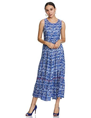 Indigo Women's Rayon Bubble Hem Maxi Dress (AW20/IND-1464 L)
