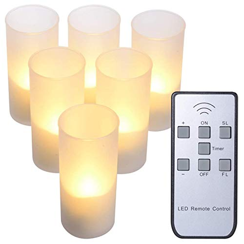 PChero 6pcs Rechargeable LED Flameless Timer Tealight Candles with Remote Frosted Cups & Charging Base for Party Wedding Home Room Festival Decoration- Warm White
