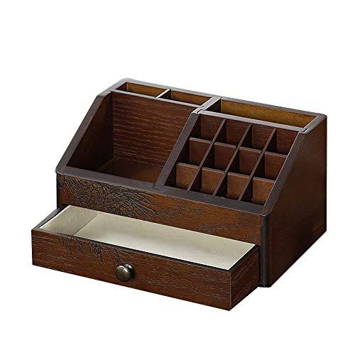 AQzxdc Caja de Almacenamiento Cosmética De Madera, Cajón de Escritorio de Gran Capacidad Lápiz Labial Joyería Collar, Decoración Retro del Hogar Organizador Accesorios Papelería