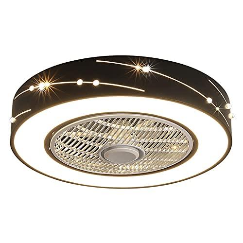 FCWMD Ventilador de Techo Moderno con iluminación y Control Remoto silencioso, Ventilador de lámpara de Techo acrílico LED Regulable y función de inversión de Invierno, luz de Ventilador Invisible