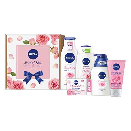 NIVEA Smell of Roses Geschenkset, Pflegeset für eine strahlende und gepflegte Haut, Beauty-Set mit Waschgel, Gel-Creme Tagespflege, Body Lotion und mehr