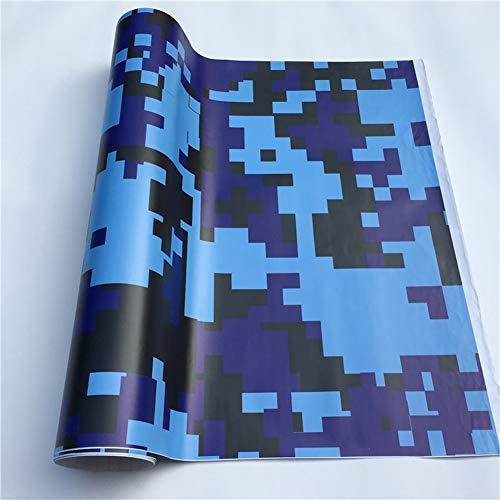 ENticerowts Fahrzeugfolie, Auto Motorrad Digital Camouflage Farbe Graffiti Selbstklebendes modifiziertes Aufkleber Klebeband für Auto Zubehör Innenraum & Aussehen Blau Digital S