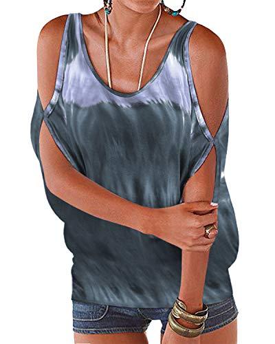 YOINS Bluse Damen Kurzarm Schulterfrei Oberteil Damen Off Shoulder Top Sommer Carmen Shirt Tie Dye