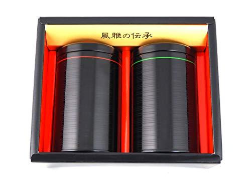 Teedosen-Set ITOURUSHI hergestellt in Japan Geschenk-Set in Schwarz Ø 7,8 cm, H. 12 cm für je ca. 150 g Tee