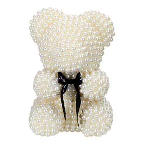 Generic 23cm 3D Foam Bear Modeling Imitation Pearl Handmade Craft Gift Christmas Valentine's Day Wedding Home Decoration
