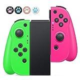 Timoom T13 Mandos para Nintendo Switch, Bluetooth Wireless Controller Gamepad Joystick Controlador De Reemplazo Izquierdo Y Derecho para Joy Con, Doble Vibración y Giroscopio de 6 Ejes(T13 Rosa-Verde)