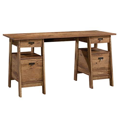 Sauder Trestle Executive Trestle Desk, Vintage Oak finish