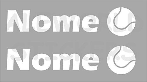 AWS 2Sticker SPORT mit Namen Personalisierte H 2cm Tennisball ohne Hintergrund Paar Stickers Tuning mit Logo Sport Vinyl Wasserdicht Fahrrad Motorrad Fahrrad Helm Custom Name, bianco