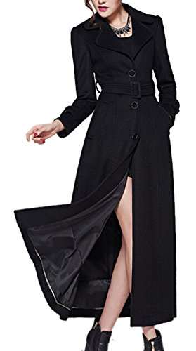 Price comparison product image AZIZY Women's Full-Length Sing-Breasted Turn Down Collar Wool Coat with Belt Black 2XL