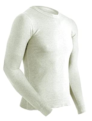 ColdPruf Men's Authentic Dual Layer Long Sleeve Wool Plus Crew Neck Base Layer Top, Oatmeal, Large 92ALGOM