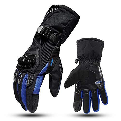 DYCLE Guantes de Moto de Invierno con Dedos completos, Impermeable Calentar Ciclismo Guantes Motocross Anti-caída Protector Hombres Guantes de Manga Larga,Azul,XXL
