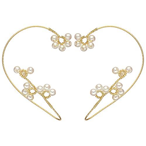 1 par de pendientes para niñas sin perforación, diseño elegante de perlas tejidas a mano con flores y pendientes de gancho para orugas