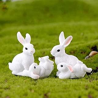 New Design 4pcs Set Garden Cute White Rabbits Miniature Resin Figurine Home Decor, Outdoor Yard Animals - Wood Easter Bunnies, Made In Japan Rabbit, Yard Decor, Angel Figurine Vintage, Chick Figurine