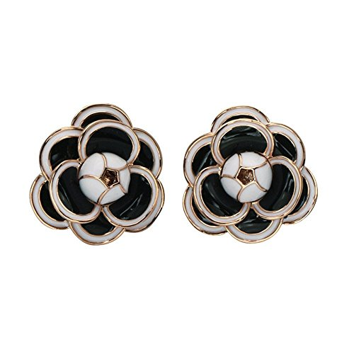 Fashion jewelry designer statement elegant camellia flower earrings studs for women