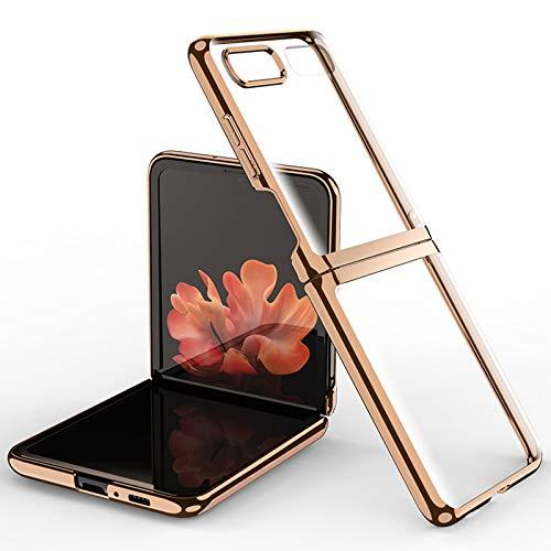 Miimall Kompatibel mit Samsung Galaxy Z Flip/Z Flip 5G Hülle, Transparent Galvanisieren Hartes PC Handyhülle Anti-Gelb Kratzfest Bumper Hülle für Samsung Galaxy Z Flip - Gold
